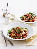 Fattoush (bread salad, North Africa) with tuna and beans