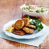 Salmon cakes with couscous salad