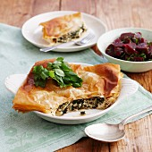 Spanakopita with beetroot salad