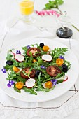 Arugula Salad with Blackberries, Tomatoes, Radishes and Violets