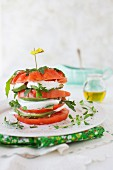 Tomato Salad with Mozzarella Cheese, Avocado and Arugula