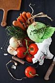 Fresh Vegetables in a Metal Basket