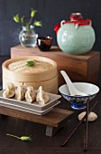 Chicken Dumplings with a Bamboo Steamer and Soy Sauce