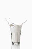 Milch spritzt aus dem Glas