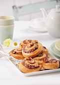 Nut Danish pastries on a cake plate