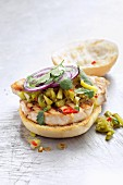 Swordfish burger with onions and coriander