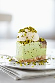 Pistachio torte with a scoop of ice cream