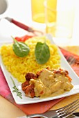 Chicken with turmeric sauce and saffron rice