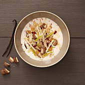 Muesli with nuts, apples, biscuits and spices