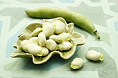 Broad beans in a leaf-shaped dish