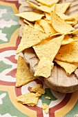 Tortilla chips in a wooden bowl