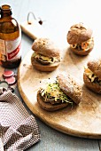 Sliders with pork and edible shoots