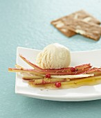 Rhubarb with five-pepper mix and vanilla ice cream