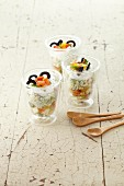 Ratatouille with ricotta cream in glasses