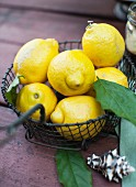 Lemons in a Wire Basket