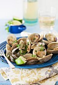 Clams on a Blue Plate with Lime