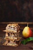 Stacked Sesame Oat Pear Bars