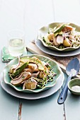 Salad with chicken, potatoes and avocado