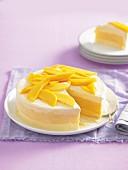 Mango sorbet and ice-cream layered cake