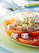 Tomato salad with feta, thyme and lavender