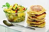 Quark and spring onion pancakes with mango chutney