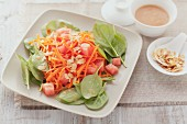 Watermelon & carrot salad with young spinach leaves