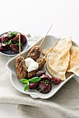 Lamb kofta with cumin salt and beet salad