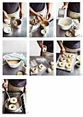 Bagels being prepared