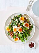 Lentil and asparagus salad with egg and sumac