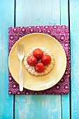 Strawberry tartlet from above