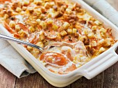 Scalloped Carrots (carrot gratin with croutons, USA)