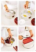 Preparing rhubarb and orange upside-down cake