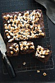 Brownies with marshmallows on a cooling rack