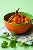 Carrot salad with turmeric, raisins and cinnamon
