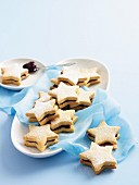 Almond and cherry jam biscuits