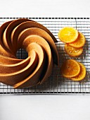 Orange & poppyseed Bundt cake with crystallised orange slices