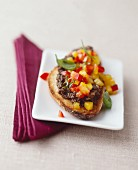 Crostini with olive tapenade and peppers