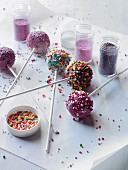Cake pops with assorted decorations