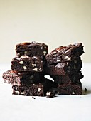 Stack of Chocolate Brownies; White Background