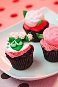 Three Flower Cupcakes