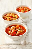 Minestrone with cabbage, white beans, courgette and peppers