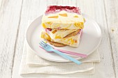 Semifreddo with cherries and peaches