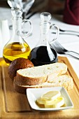 Balsamic vinegar, olive oil, bread and butter