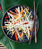 Vegetable salad with enoki mushrooms and tofu (Asia)