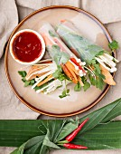 Rolls of rice paper filled with enoki mushrooms, chicken and vegetables (Asia)