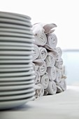 White plates and napkins, stacked