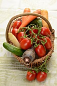 Organic vegetables in a basket