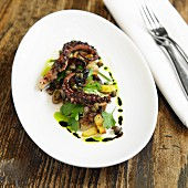 Grilled Octopus with Pickled Eggplant, Fingerling Potatoes, Herb Salad and Red Pearl Onions