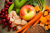Assorted Ingredients; Fruit, Vegetables, Chicken and Grains