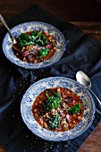 Two plates of vegetables soup with black beans, salsiccia and green kale